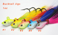 Low MOQ bucktail jigs for tackle shop 1oz 5 colors available in stock now