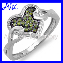 Sterling Silver Green Diamond Ladies Promise Heart Love Engagement Ring