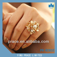 hot sale gold plated and pearl fashion ring designs for girls