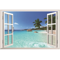 Modern Beautiful 3D Seascape Beach Window View Removable Wall Art Stickers Vinyl Decal Home Decor Office Living room Waterproof