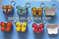 wholesale mini candy butterfly shaped printed gift metal tin box case with keychain