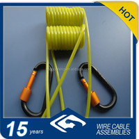spring steel wire coil lanayrd with carabiners