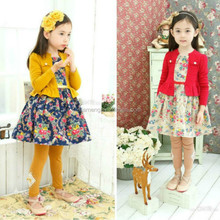 2015 new arrival cotton long sleeve girls dresses age 10, 9, 7, 8, 6,5