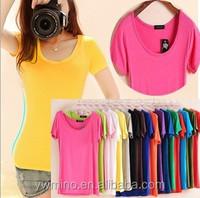 Hot Sale Women's O-neck Short Sleeve Women's T-Shirt Cotton Large Size17 Colors Slim lady t shirt good quality