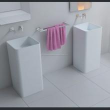 Venta caliente free standing solid surface pileta de lavado para baño