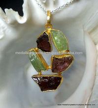 Vermeil Natural Garnet Rough Gemstones Pendants, Gold Plated Matt Finished Pendants, Gold Polished Sterling Silver Pendants