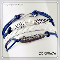 NEW Infinity Wing Believe Leather Cute Charm Bracelet plated Silver Black. ZX-CP0676