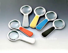 Many colors illuminated logo branded magnifying glass