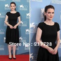 2012 69th Venice Festival Short Sleeves Round Neckline Knee Length Black Celebrity Evening Dresses VF006