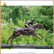 Outdoor Garden Bronze Soldier Ride Horse Sculpture Running Horse Statues For Sale