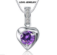 Natural Amethyst pendant platinum plating with zircon 925 sterling silver necklace