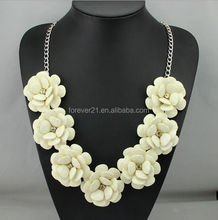 Fashion White Rose Statement Flower Necklace Total 7 colors Available
