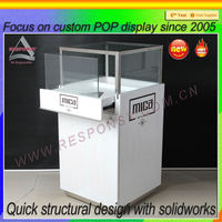 Customized floor wooden glass display case parts
