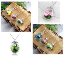 New Arrival DIY Pendant Handmade Glass Pendant Wishing Bottle Lavender White Flower Crystal Glass Necklace For Women Fashion dan