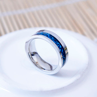 Korean stainless steel ring of clearness stripe shape ring with blue ring jewelry fashion