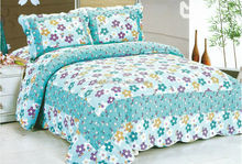 Fancy printed floral cotton bedspread quilt set