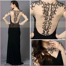Sirena cy62623 manga larga ver- throungh vestido de fiesta para las mujeres gordas