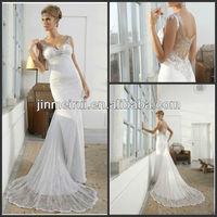 Best beautiful Bride Spaghetti Straps V-neck Sequined Appliqued Crystal Sheath Chaple Train Lace German Wedding Dresses