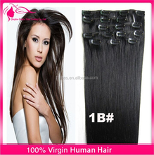 Hot selling top quality natural black straight clip in hair extension 100% virgin Brazilian human hair