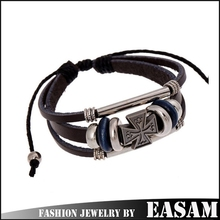 Foreign trade hot sale leather bracelet,antique alloy beads leather bracelet with cross