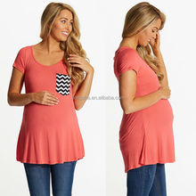 100% algodão roupas de maternidade desgaste confortável blusa de grávida com bolso listrado HST7564