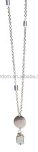 Shinning stainless steel long necklace with glass beads