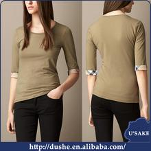U'sake ladies and girls 3/4 blank ruffle sleeve two tone t shirt blouse designs