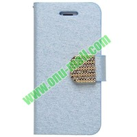 Silk Texture Leather Front and Back Cover for Iphone 5 with Card Slots and Holder