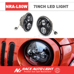 "New Products! DOT Approval 7 Inch round Led Lighting 7"" 80W Headlight with DRL for Jeep with low high beam led headlamp"