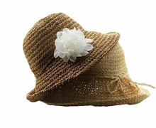 flower sun protection madagascar brown raffia straw hat for lady