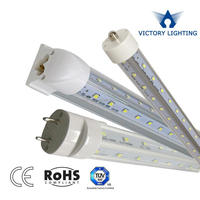 hot sale t8 led cooler door light 100lm/w 6500k t8 integrated v shape led tubes with ce rohs certificate
