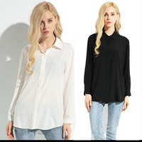 Womens Girls Solid Collar Silk 100% Basic Long Sleeve Shirts Blouses OEM ODM Type Clothing Factory Manufacturer From Guangzhou