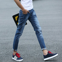 (stock)New design skinny elastic slim turnup pencil cropped jeans for men