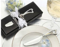 Spread the Love heart shaped handle Butter Knife Chrome Cheese Spreader Wedding Bridal Shower Favors