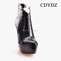 CDYDZ M1529-W5676 Roman shoes black patent leather side zipper high-heeled women's boots 2015 new fashion