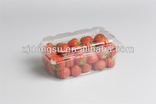 Large size rectangular disposable fruit box, clear take away strawcherry container, factory made PET food container