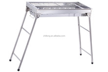 foldable stainless steel portable bbq grill with charcoal drawer