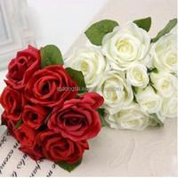 cheap bouquet wedding real touch silk artificial flower rose