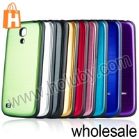 Brushed Metal PC Housing Case Battery Back Cover for Samsung Galaxy S4 Mini i9190 With Black Edges