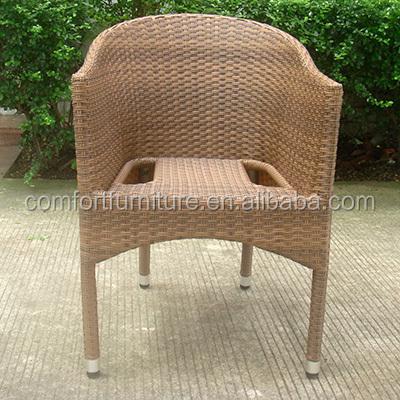 Ao ar livre empilhamento cadeira de vime com moldura de alumínio