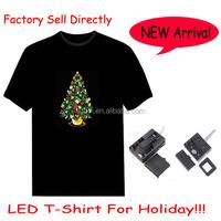 HOT!HOT!HOT!Merry christmas custom led music light t shirt for resale