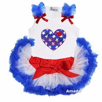 Baby Red White Blue Pettiskirt with Blue Star My Hero My Daddy Heart White Tank Top