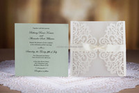 laser cut wedding invitation card with Royal white Ribbon; Elegant Lace Party Invitation; White and Green Wedding Invitation Car