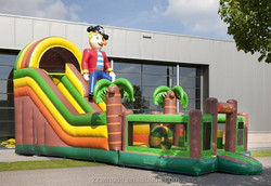 Palm tree inflatable slide, jungle water slide,children inflatable pool with slide
