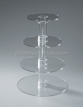 4 Tiers Clear Acrylic Round Cup Cake Stand Tower Holder Wedding Birthday Display Cake Tower