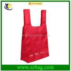 Custom red nylon ribstop reusable foldable shopping bag