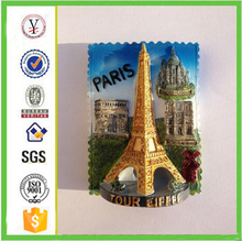 chinese factory custom-made handmade carved 3d resin Eiffel Tower Fridge Magnet