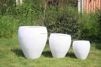 White round wholesale light weight clay garden flower pot