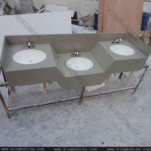 una sola pieza de mármol de kfc cuarto de baño tapa de la vanidad con tres sumideros