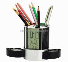 Customized pen holder with clock metal pen holder